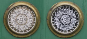 Cabin lace (night (L) and day (R)) from the outside