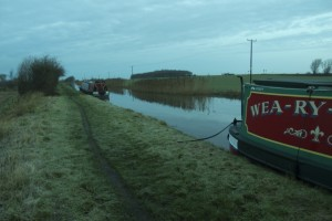 Frozen canal bank and mooring lines